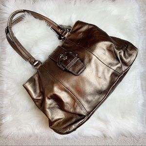Coach Soho Bronze Leather East West Tote Bag